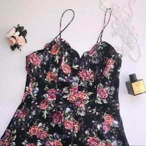Vintage Victoria's Secret black floral nightgown